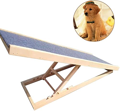LSM Dog Stairs Folding Dog Ramp Foldable – Portable Lightweight Dogs and Cats Ramp for Cars, Couch – Durable Wood Pet Stairs Non-Slip
