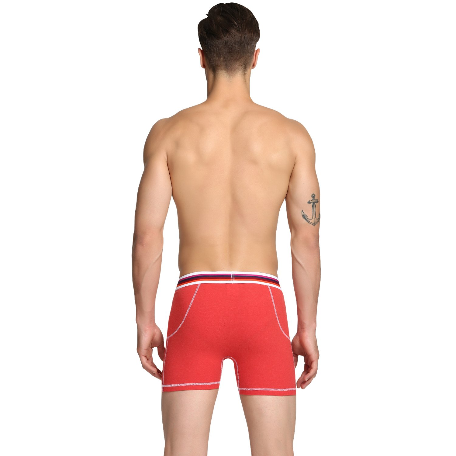FBA Nuofengkudu Mens Soft Cotton Boxer Briefs Classic Underwear No Ride Up