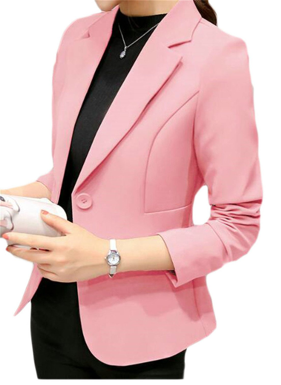 SELX-Women Work Office Blazer Coat Casual Long Sleeve Solid Open Front Business Jacket Pink US L