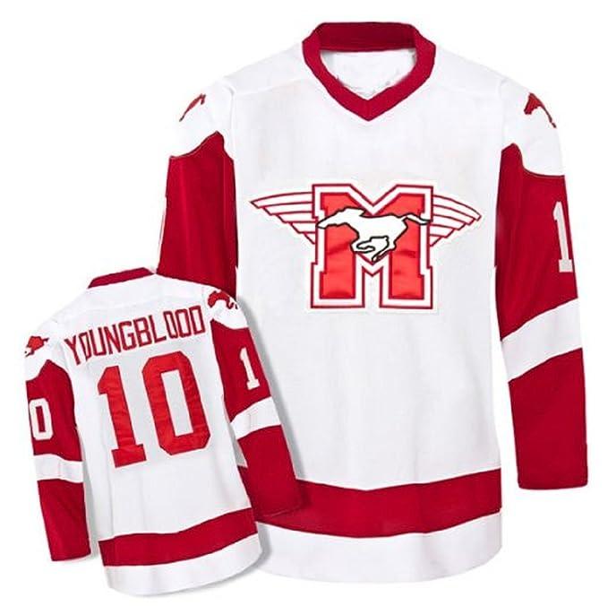 10 Youngblood Movie Hamilton Mustangs Hockey Jersey Stitch Light (34) c53e572381