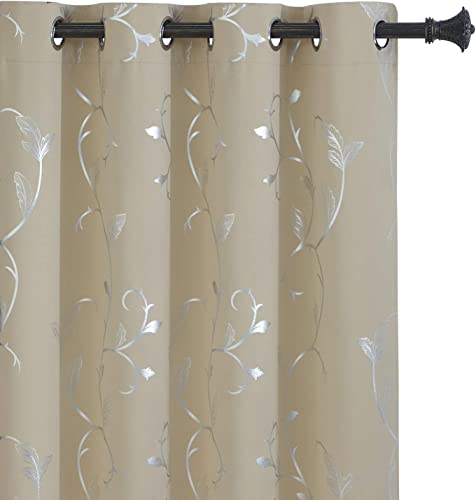 BUHUA Wave Floral Vine Print Blackout Curtains for Living Room Darkening Curtains Print Pattern Light Blocking Curtains for Bedroom 52W 84L Beige 2 Panels