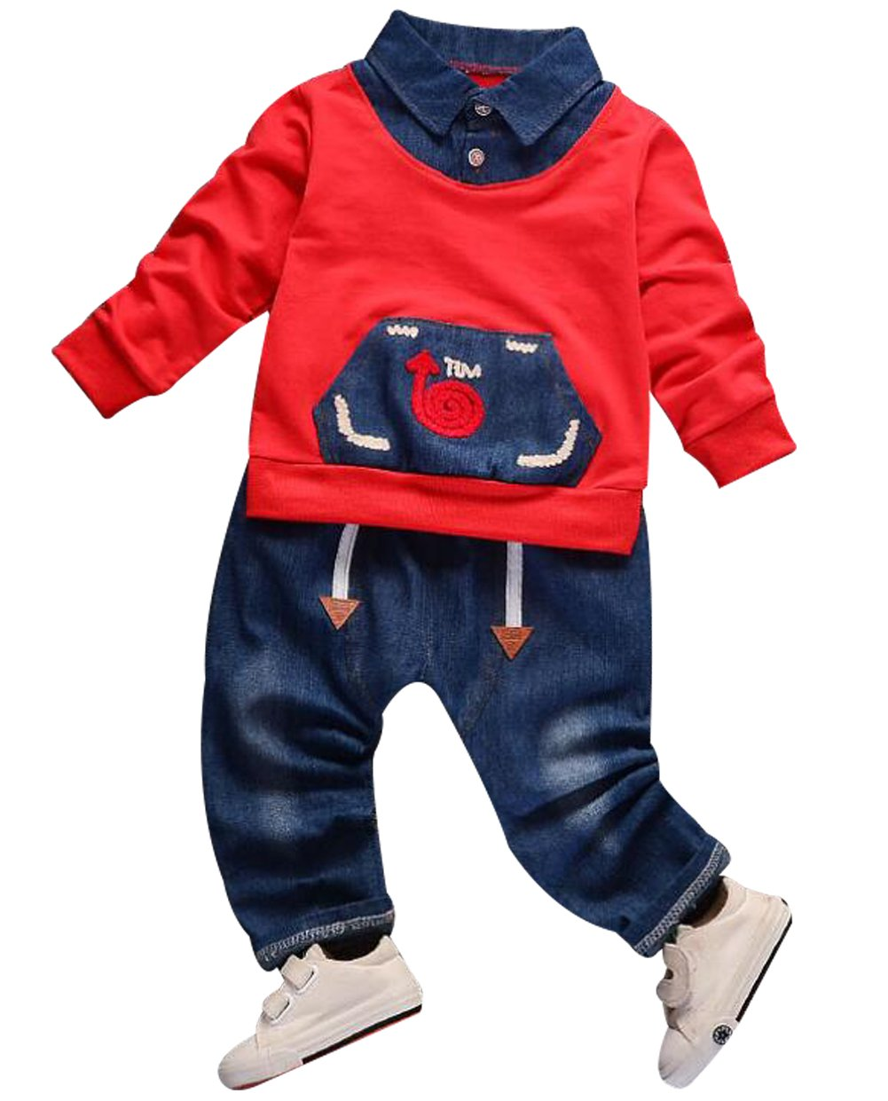 UNIQUEONE Toddler Boys Girls Long Sleeve Cartoon Print Pocket Coat Tops+Denim Pant Outfits Size 3-4 Years/Tag110 (Red)