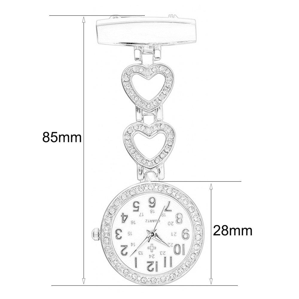 Creative Brooches Portable Medical Doctor Nurse Fob Watch Arabic Numerals Rhinestone Heart, Rose Gold by Guirui Watch (Image #4)