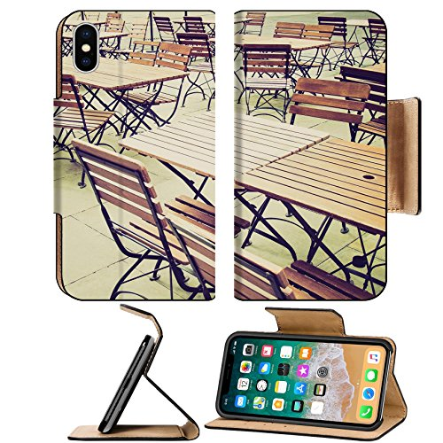 (Luxlady Premium Apple iPhone X Flip Pu Leather Wallet Case IMAGE ID 27620877 Vintage looking Tables and chairs of a dehors alfresco bar restaurant pub)