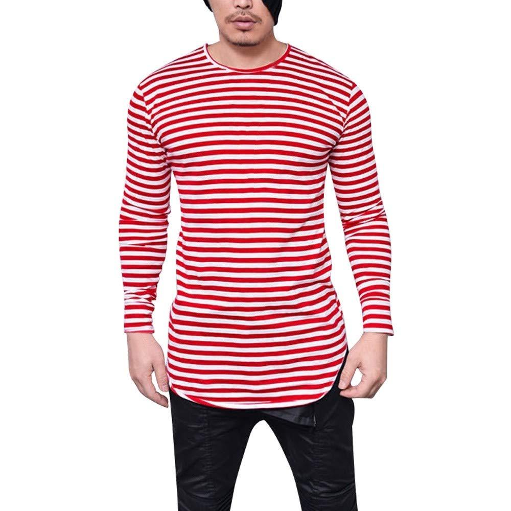 ZIYOU Herren Langarm T-Shirt Tops, Mode Männer Gestreiftes Sweatshirt mit O-Ausschnitt/Dünne Rundhals Longsleeve Streetwear Hemd