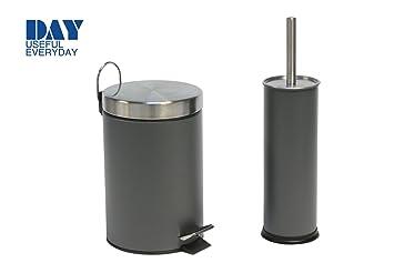 Badezimmer Set DAY Tret Mülleimer Toiletten Bürste Grau
