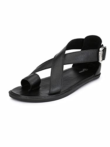 f32e9fb8d Guava Men Anti-Sweat Leather Black Sandals  Buy Online at Low Prices in  India - Amazon.in
