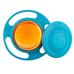 SZTARA Funny Toy Baby Trainning Tableware 360 Dgree Rotation Spill-proof Gyroscope Bowl Flying Disk Bowls With Lid Green And Orange