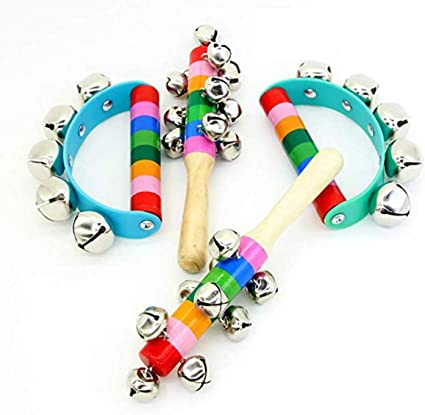 Wooden Bell Jingle Stick Rattle Toys Percussion Musical Instrument for Baby one