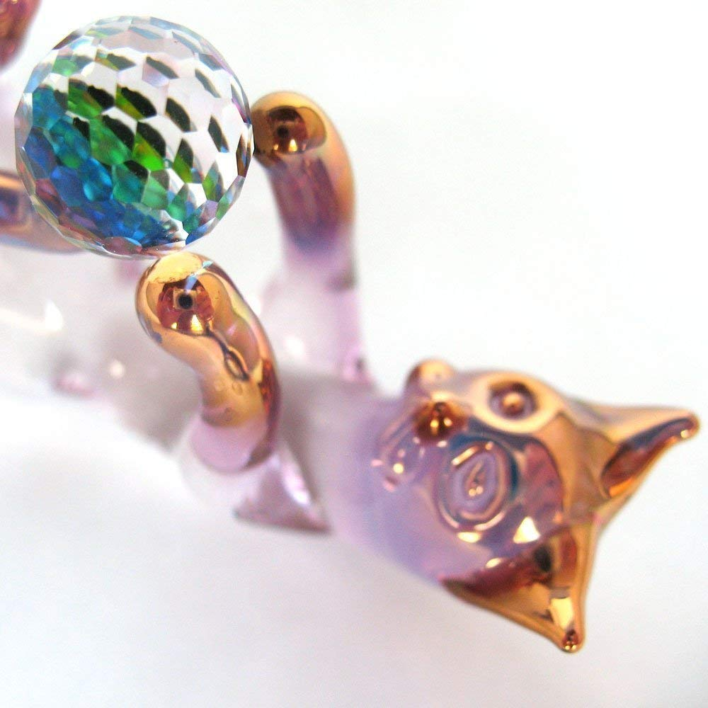 Cat Kitten Figurine of Hand Blown Glass with Crystal Ball of String
