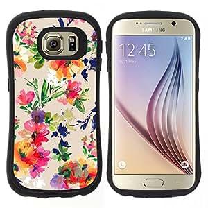 """Pulsar iFace Series Tpu silicona Carcasa Funda Case para Samsung Galaxy S6 , Ramo de la flor del patrón Wallpaper"""""""