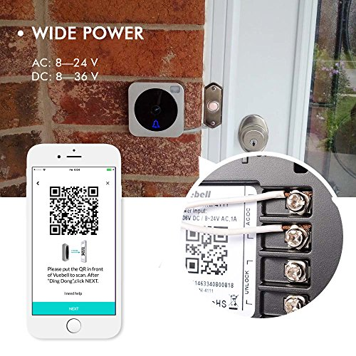 Wifi Video Doorbell, Compatible with Alexa Echo Show, Netvue Vuebell  Doorbell Camera 720P HD Cam,Cloud Storage,Two-Way Audio,Motion  Detection,Infrared
