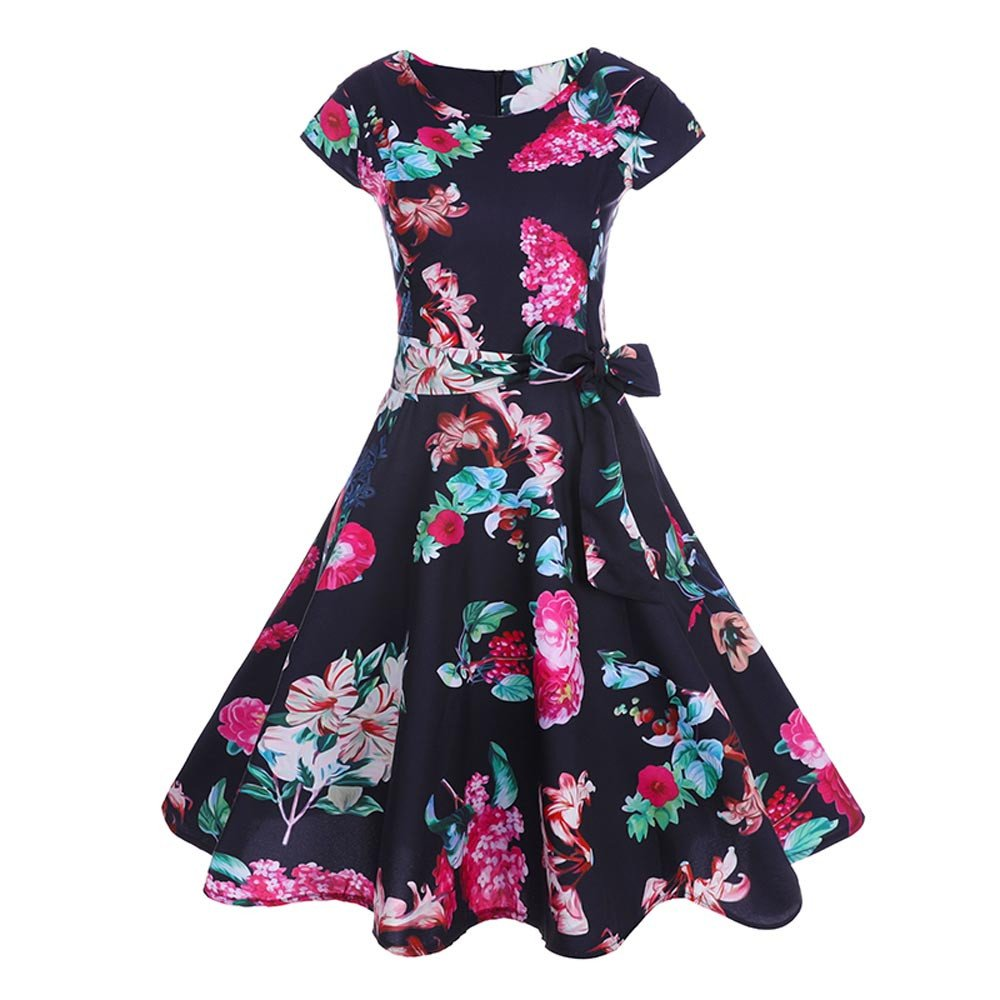 50S 60S Vintage Dresses Short Sleeve for Women Casual Floral Print Prom  Swing with Sashes Dresses for Summer at Amazon Women s Clothing store  3845cc676