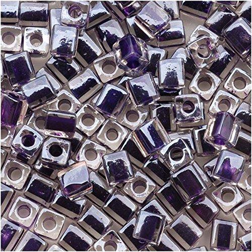 Miyuki 4mm Glass Cube Beads Dark Purple Lined Crystal #223 10 ()