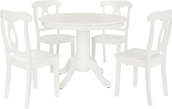 Amazon Com Aubrey 5 Piece Traditional Height Pedestal Dining Set White Table Chair Sets