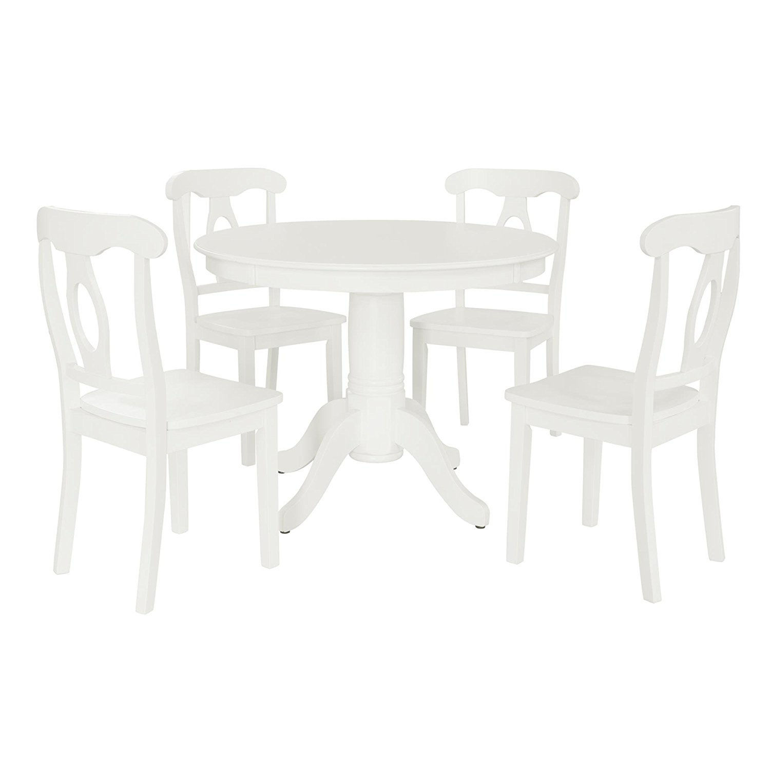 Aubrey 5 piece Traditional Height Pedestal Dining Set, White by Dorel Living (Image #1)