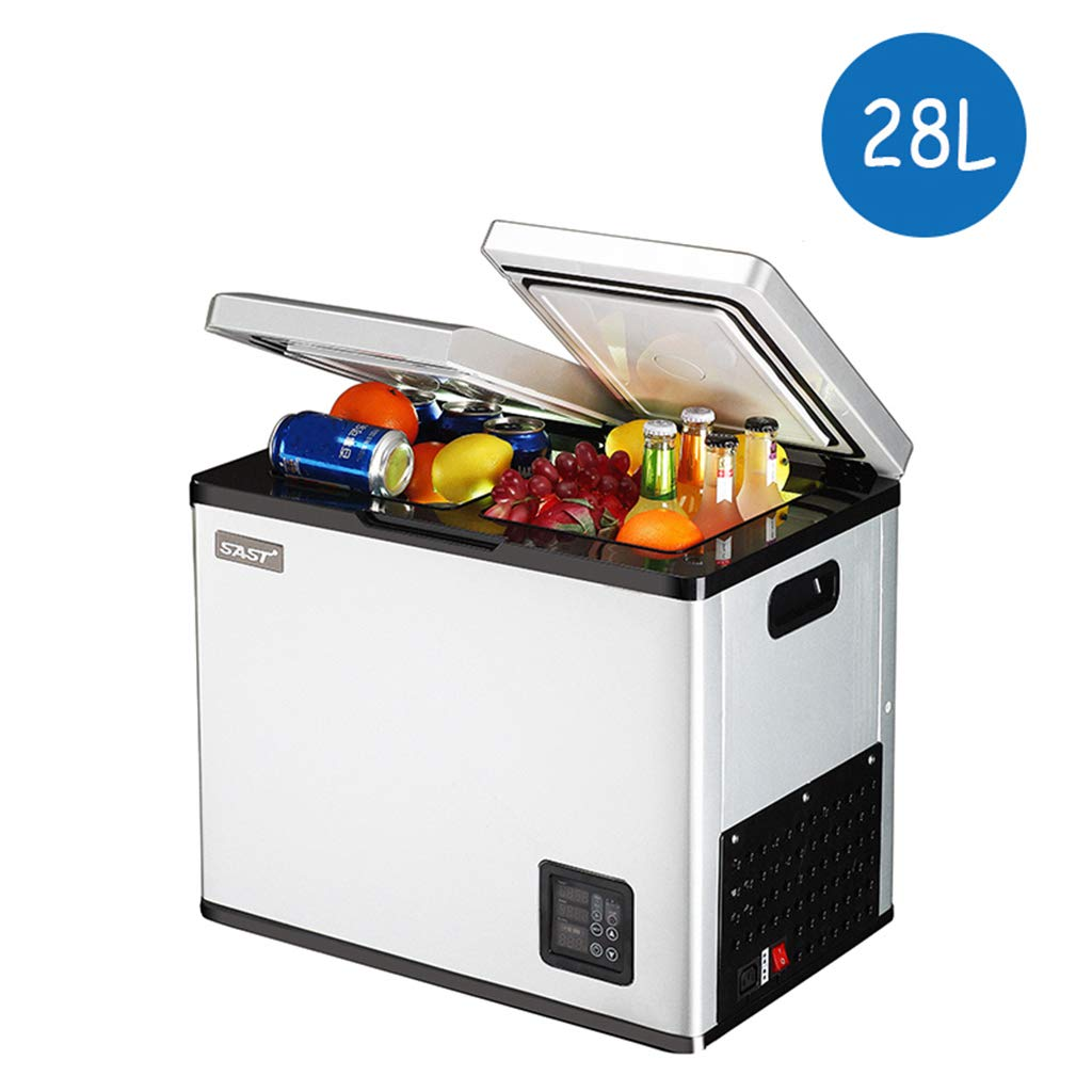 Lxn Portable Car and Home use Compressor Double Door Fridge,Mini Freezer for Driving, Travel, Fishing, Outdoor and Home use - 12V/24V(DC) and 110V- 220V(AC)