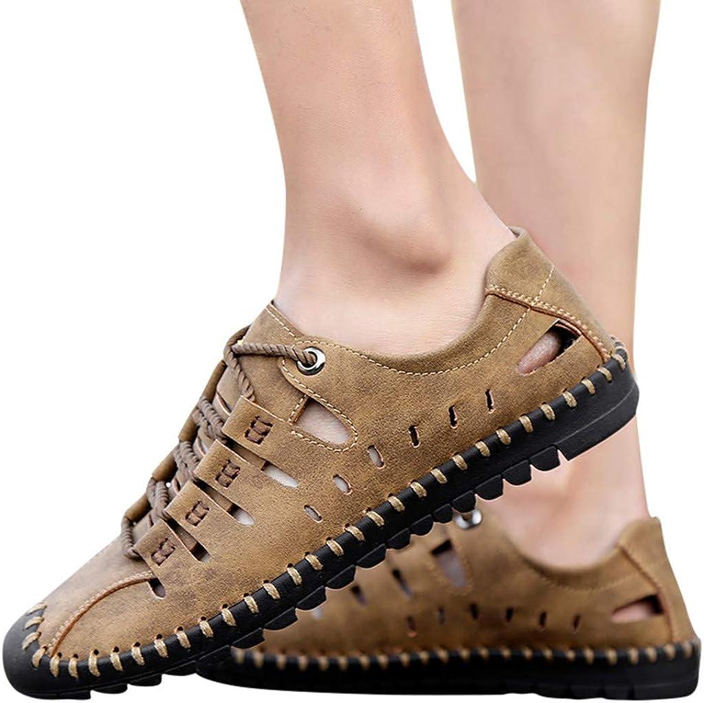 Magiyard/_Shoes Sandales Pantoufles Sandales D/éT/é en Cuir D/éContract/éEs pour Hommes Chaussures De Plage en Plein Air Respirantes Sandales pour Hommes