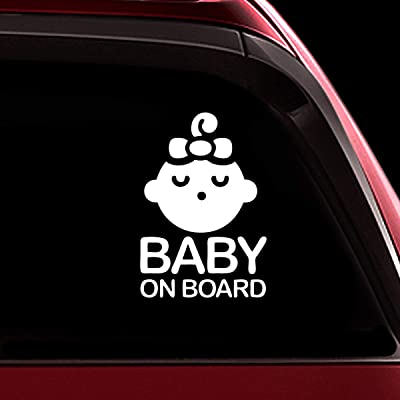 TOTOMO Baby on Board Sticker - Safety Caution Decal Sign Stickers for Cars Windows Bumpers - Sleeping Baby Girl ALI-021: Automotive
