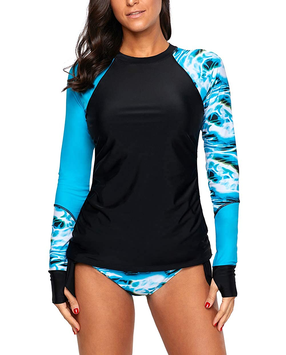 Womens Diving Swimwear Long Sleeve Surf Suit Tankini Swimsuit Beach Rash Guard