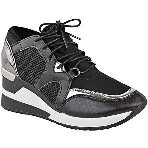 Fashion Thirsty Mujer Hi Top Zapatillas Cuña Gimnasio Fitness Moderno Deporte Camuflaje Talla UK - Negro Piel Sintética/Plata Metálico, 40: Amazon.es: ...