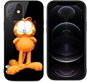 Garfield for iPhone 12 Glass case Anti-Scratch Shockproof Cover Protective Case for iPhone 12/12 pro max case, Protective Compatible with for iPhone 12 Mini