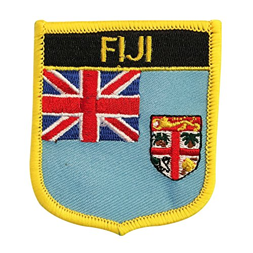 Fiji (UK) Flag Emblem Badge Crest Embroidered Patch Iron-On Sew-On for Backpacks, Bags, and Rugby Equipment (Fijian Crest, 2.75