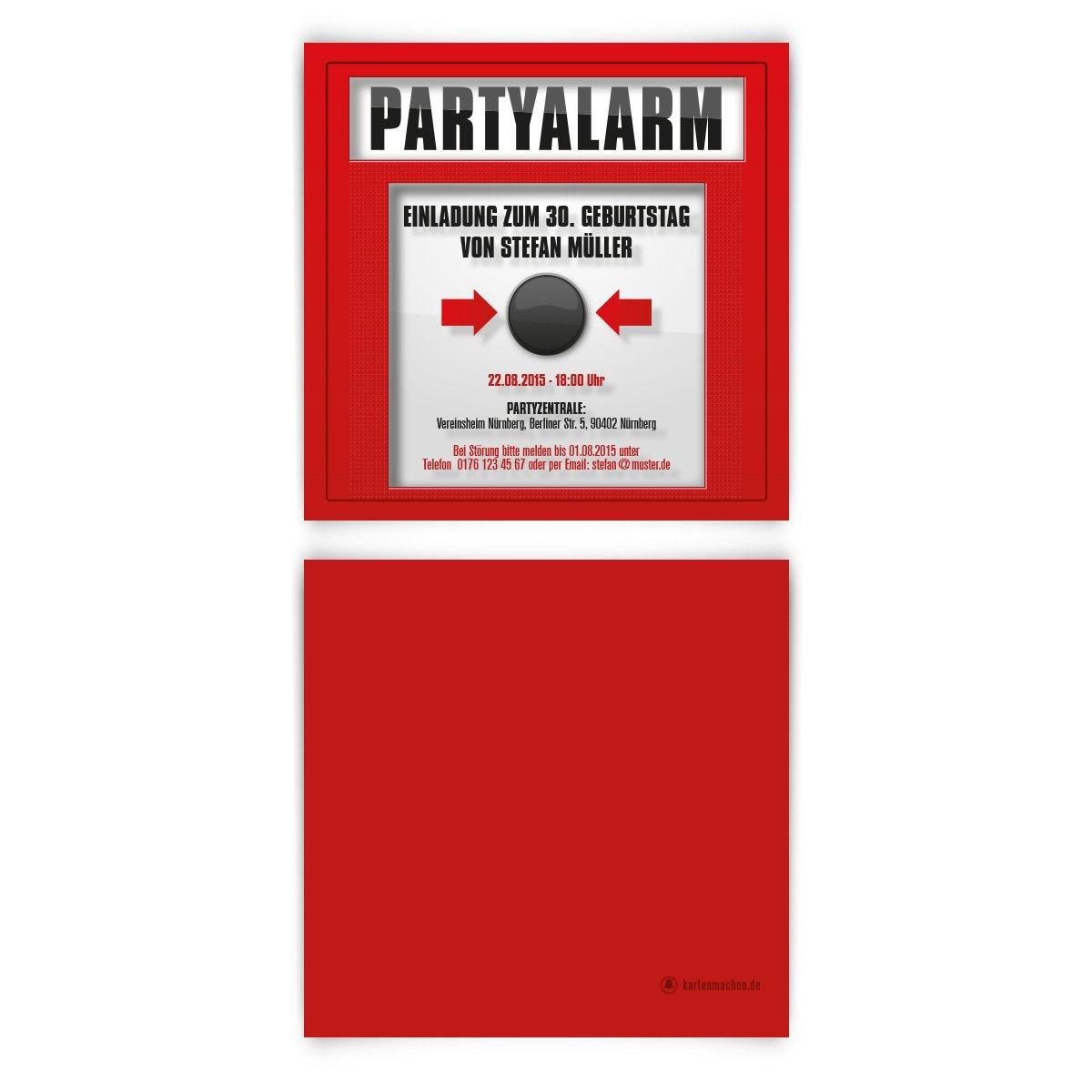 Einladungskarten Zum Geburtstag (50 Stück) Feueralarm Feuerwehr Alarm  Scheibe Einschlagen: Amazon.de: Bürobedarf U0026 Schreibwaren