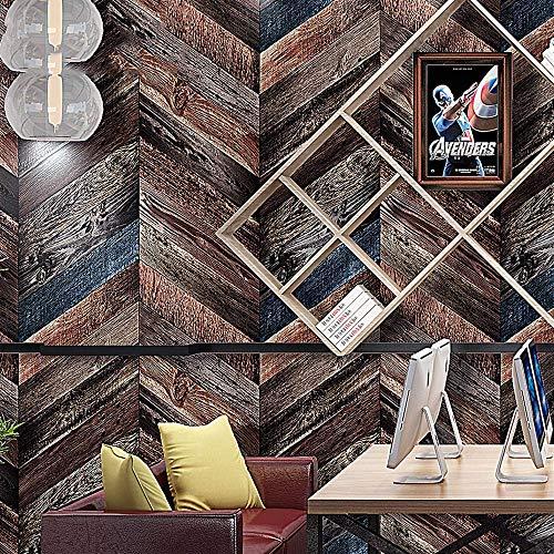 (Vintage Geometric Diamond Diagonal Strip Dark Brown Wood Grain PVC Thick Wallpaper, Internet Cafe Studio 0.53Mx 10M = 5.3 Square Meters (57 Square Feet),80129-0.53M10M )