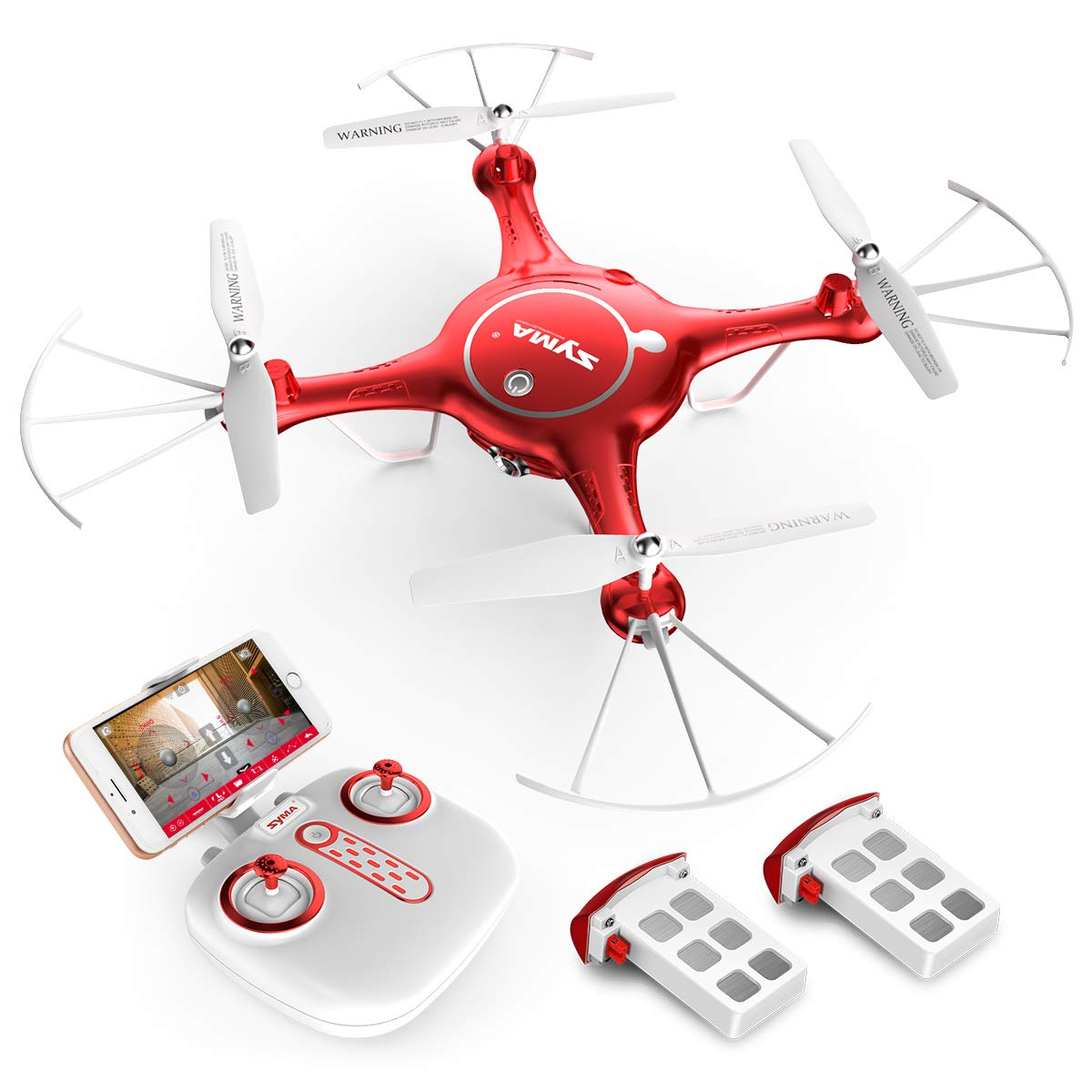 SYMA X5UW WiFi FPV 720P HD Camera Quadcopter Drone with Flight Plan Route App Control and Altitude Hold Red by SYMA