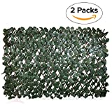 Windscreen4less Artificial Leaf Faux Ivy Expandable/Stretchable Privacy Fence Screen (Double Sided Leaves) 2 Packs Duo Combo Deal