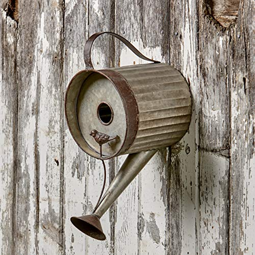 The Lakeside Collection Watering Can Birdhouse - Distressed Metal Bird House for Hanging Outdoors (Birdhouse Distressed)