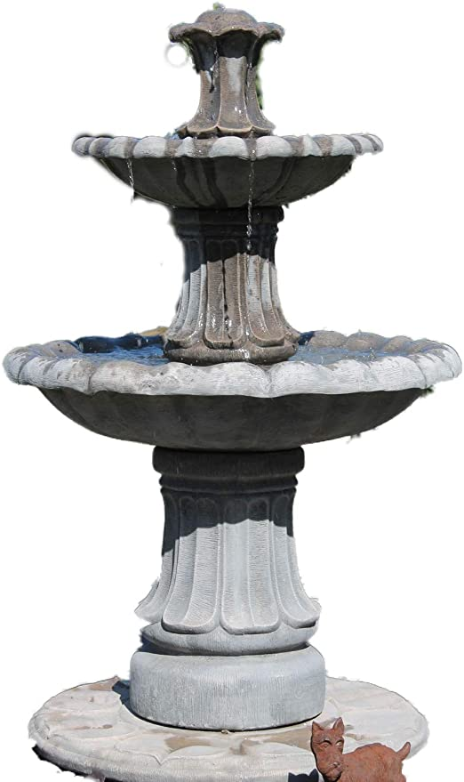 Piedra agua para jardín pluma estilográfica, 4 ft 3 en pequeño 2 pisos fuente autónomo al aire libre (función de agua para jardín: Amazon.es: Jardín