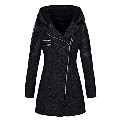 37911efb35a Lazzboy Jacket Coat Women Woolen Faux Wool Zip Quilted Patchwork Hooded  Outerwear UK 6-18 Plus Size Oversized  Amazon.co.uk  Clothing
