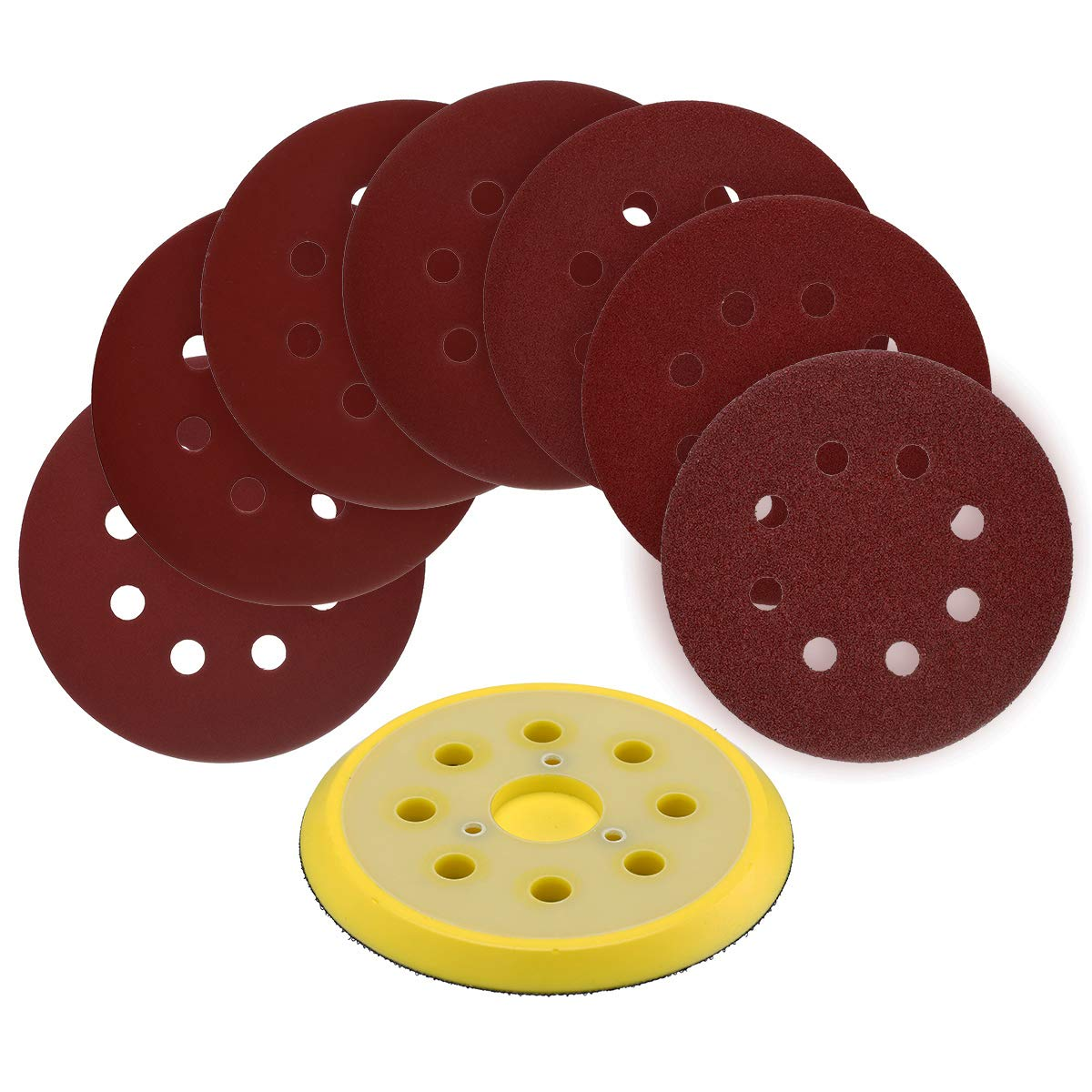 70pcs 5-Inch 8-Hole Hook and Loop Sanding Discs with 5-Inch Random Orbit Sander Pad Replaces DeWalt OE # 151281-08 (Compatible with DeWalt, Black & Decker and Porter Cable Tools)