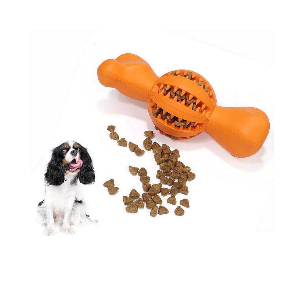 Niustyle Dog Chew Toy Durable Food Ball Bone Toys Chewing IQ Treat Feeder Toys Non Toxic Rubber Tooth Cleaning for Pet (Large)