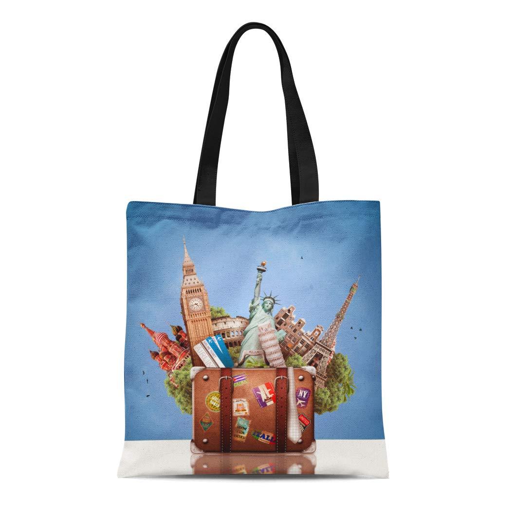0a76fe0562f8 Amazon.com: Semtomn Canvas Tote Bag Shoulder Bags Almond Blue Yogurt ...
