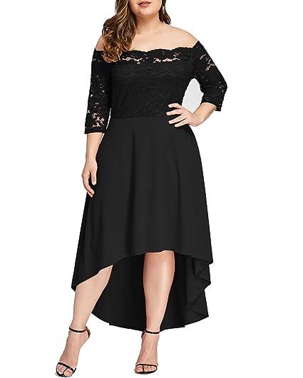 GAMISS Womens Vintage Off Shoulder Cocktail Dress Plus Size Floral Lace 3/4 Sleeves Wedding