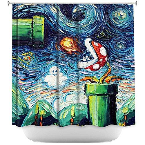 DiaNoche Designs Bathroom Shower Curtains by Aja Ann - Van Gogh Super Mario Bros 2