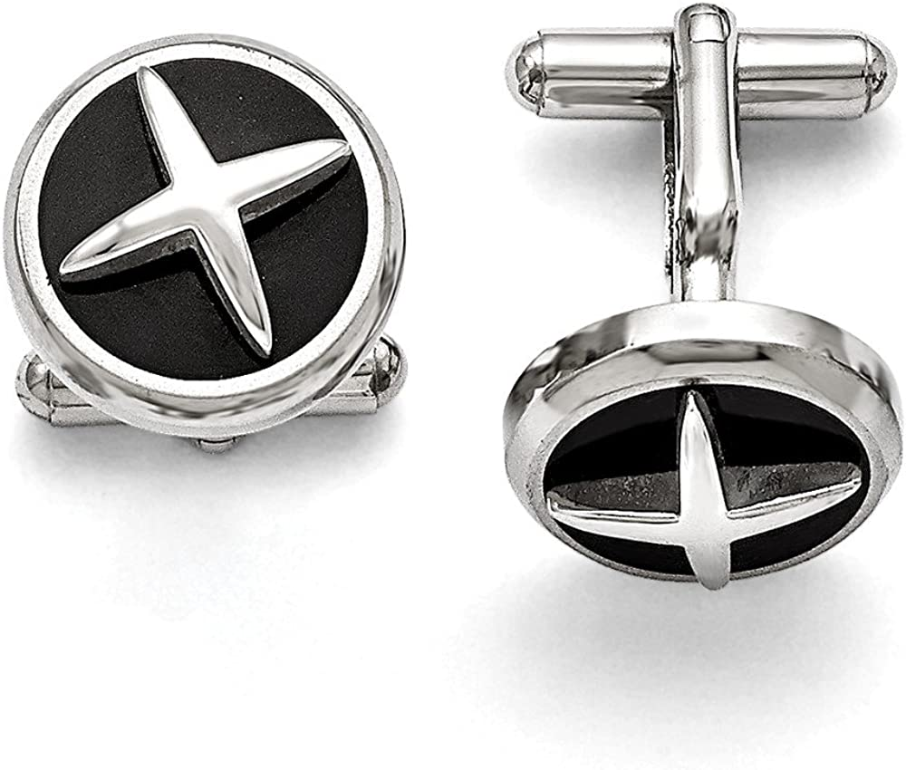 Stainless Steel Polished Enameled X Cuff Links 18mm x 18mm