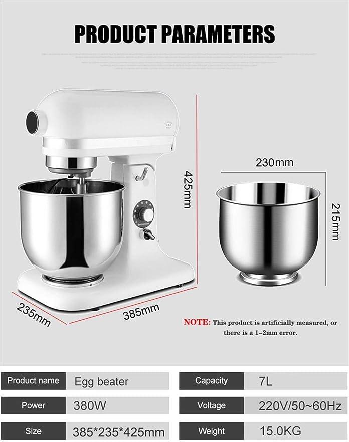 Batidora amasadora robot de cocina Alimentos Batidora de pie Masa Blender 7L acero inoxidable de 10 velocidades alimentos Industrial Soporte Procesador mezclador batidor de huevo alimentos Blender mul: Amazon.es