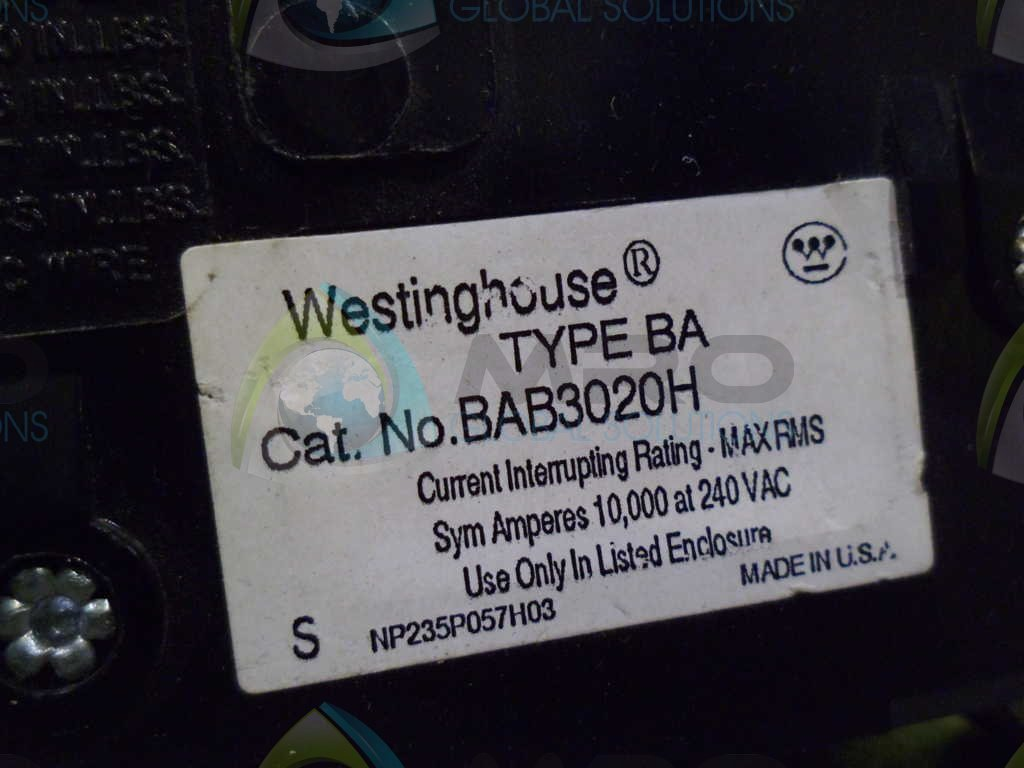 NTO EATON//CUTLER HAMMER BA BAB3020H 3POLE 20 AMP 240v CIRCUIT BREAKER BAB3020