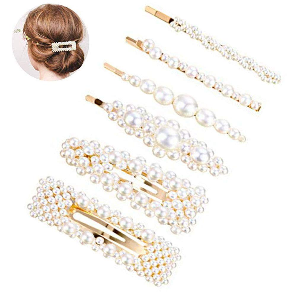 Pearls Hair Clips for Women Girls,Topgogo Handmade Fashional Barrettes Hair Pins Bridal Metal Hair Clip Snap Clips Decorative Hair Accessories for Wedding, Party, Daily Wearing (Type A)