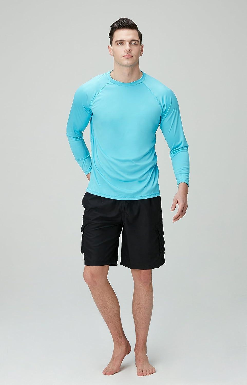 TSLA Mens UPF 50+Swim Shirt Loose-Fit Swim Tee Rashguard Top