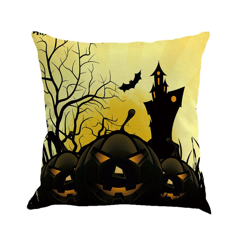 Happy Halloween Pgojuni Flax Pillowcase Decorative Throw Pillow Cover Cushion Cover Pillow Case for Sofa/Couch 1pc (45X45 cm) (C)