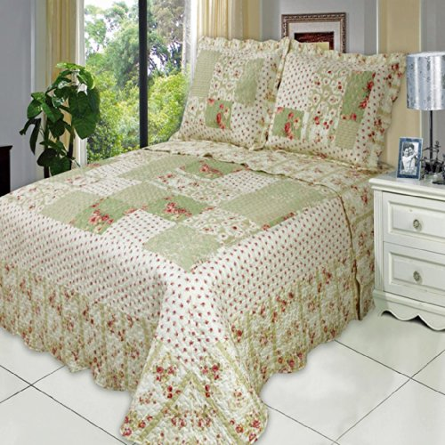 (3 Piece Upland QUEEN Oversize Super Luxurious Wrinkle Free Coverlet / Quilt Bedding Ensemble Set with Pillow Shams)