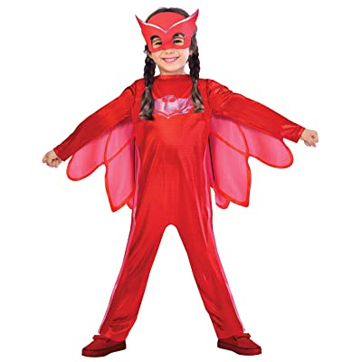 Boys Girls Official Classic PJ Masks Red Owlette TV Book Film Cartoon Character Carnival Party Fancy Dress Costume Outfit 2-8 Years (2-3 Years): Clothing