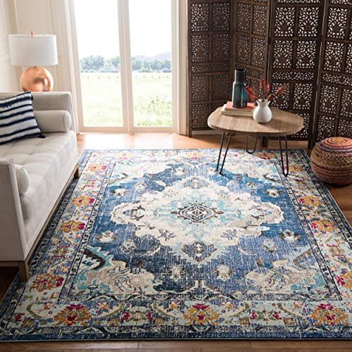 Safavieh Monaco Collection MNC243N Bohemian Chic Medallion Distressed Area Rug, 5' 1' x 7' 7', Navy/Light Blue