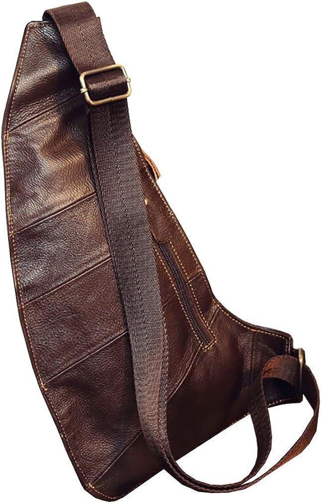 Leather Sling Bag Crossbody Backpack for Men Women Outdoor Travel Shoulder Chest Daypack