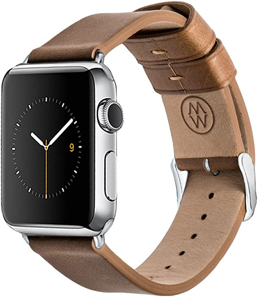 Monowear Genuine leather Apple Watch Band with Easy Slide in Elegant Adaptor for 38mm or 42mm Screen Apple Watch